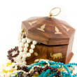 Wooden chest & necklace — Stock Photo