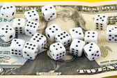 Dices over money — Stock Photo