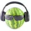 Royalty-Free Stock Photo: Watermelon in sunglasses and headphones