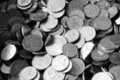 A pile of russian coins desaturated — Stock Photo