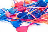 Multicolor valentines toothpicks — Stock Photo