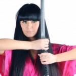 Pretty brunette ninja — Stock Photo
