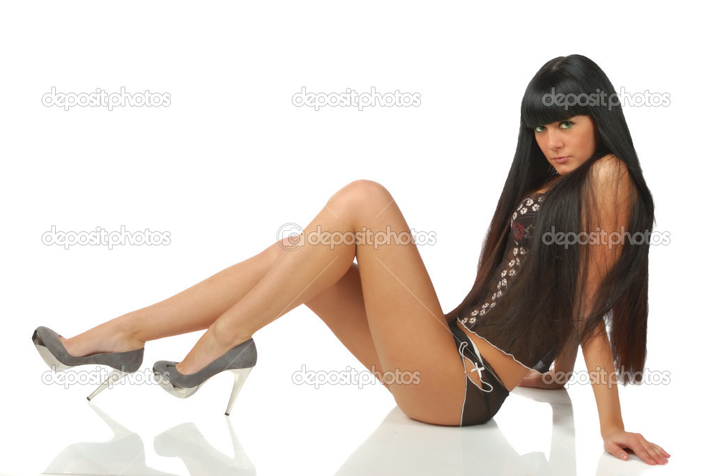 Pretty black hair girl in black underwear isolated on white — Stock Photo #1170422