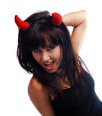 Pretty girl in devil costume — Stock Photo