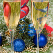 Christmas decoration and two wineglass c — Stock Photo