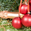 Royalty-Free Stock Photo: Ornament of Christmas and champagne.