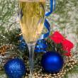 Christmas decoration and wineglas champ — Stock Photo
