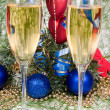 Christmas decoration and two wineglass c - Stock Photo