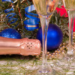 Stock Photo: Christmas decoration and two wineglass c