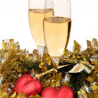 Royalty-Free Stock Photo: Two glasses of champagne and Christmas o