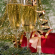 Royalty-Free Stock Photo: Christmas decoration,    champagne and g