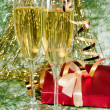 Royalty-Free Stock Photo: Christmas decoration  and two glasses of