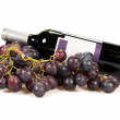 Stock Photo: Bottle of red wine and grapes