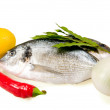 Royalty-Free Stock Photo: Fish and vegetables
