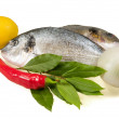 Stock Photo: Fish and fresh vegetables.