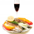 Fried fish and wine. — Stock Photo
