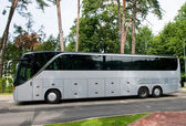 Large bus of grey color — Stock Photo