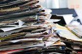 Pile of old newspapers ready for recycling — Stock Photo