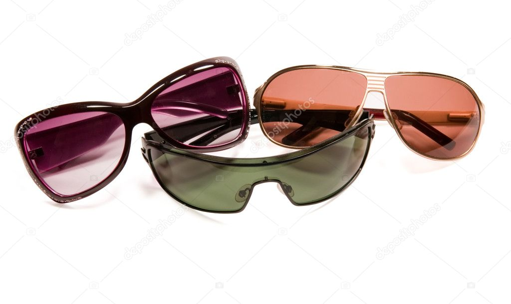 Three sun glasses isolated on a white background — Stock Photo #1048413