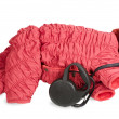 Winter clothing and leash for  dog. — Stock Photo