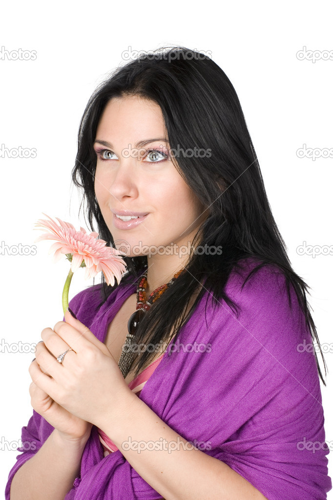 Beautiful woman with flower in hands isolated on white background. — Stock Photo #2502893