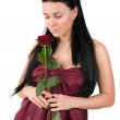 Woman with a red rose — Stock Photo