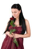 žena s červenou růží — Stock fotografie