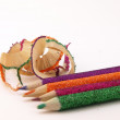Shavings and pencil — Stock Photo