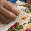 Female hand embroider at cross — Stock Photo #1447386