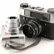 Old Films Camera with Digital Camera — Stock Photo