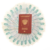 Money and passport — Stock Photo
