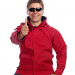 Man in red jacket — Stock Photo