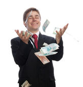 Businessman with money — Stok fotoğraf