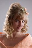 Bride in cream dress. Portrait 1 — Stock Photo