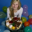 Girl with cakes — Stock Photo