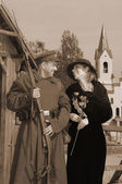 Retro picture with woman and soldier — Stock Photo
