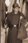 Retro styled picture with soldier — Stok fotoğraf