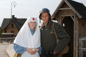 Retro picture with nurse and soldier — Stock Photo