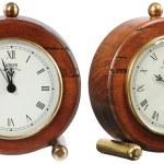 Isolated old-fashion clock on white — Stock Photo