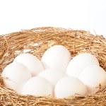 weiße eier im goldenen nest — Stockfoto