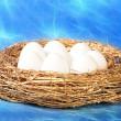 Белые яйца в золотой гнездо — Стоковое фото