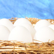 Foto Stock: White eggs in golden nest