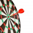 Arrow darts in center target on whit — Stock Photo #1019992