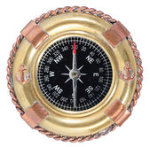 Old-fashioned compass on white — Stock Photo