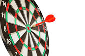 Arrow darts in a center a target on whit — Stock Photo