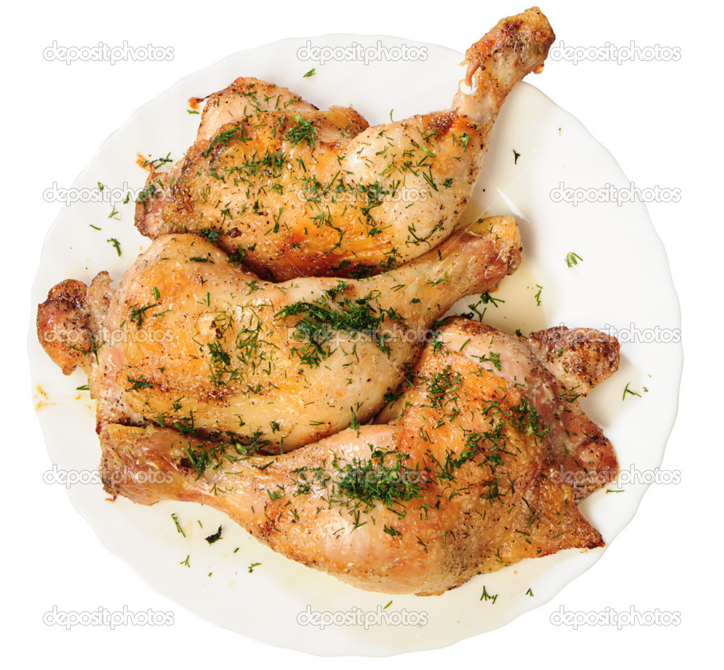Fried chicken legs with a dill from up on white plate — Stock Photo #1020563