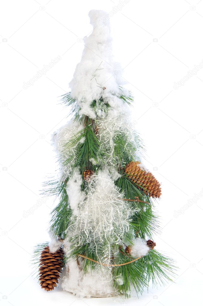 Decorative stylish christmas tree isolated on white background  Stock Photo #1022108