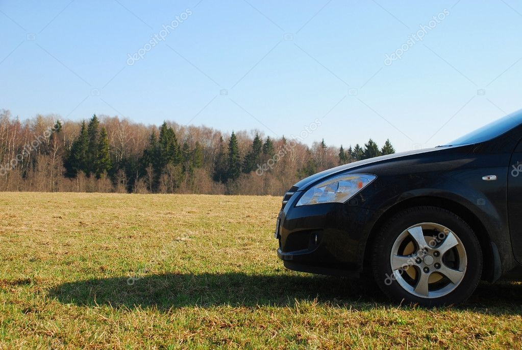 This car costs on a green grass — Stock Photo #1584450