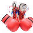 图库照片: Boxing boots and gloves