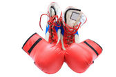 Boxing boots and gloves — Stock Photo